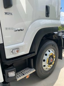 Yellow Truck Wheel Nut Safety Indicator